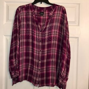 Magenta Plaid Button Down with Jewels.